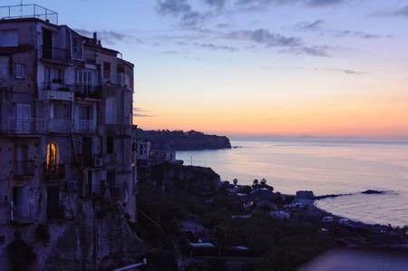 tyrrhenian: Light in a room of a clifftop house facing the Tyrrhenian Sea after sunset - Tropea, Calibria, Italy