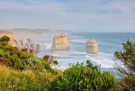 Two of the iconic  limestone stacks of the Twelve Apostles in the Port Campbell National Park - Great Ocean Road, Victoria, Australia