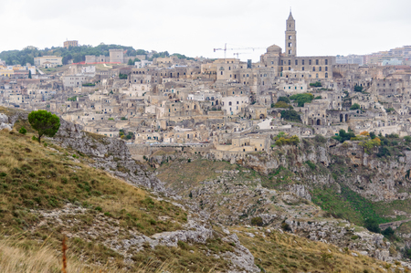 The ancient town of Sassi di Matera grew up on a slope of the ravine created by the river Gravina di Matera - Basilicata, Italy