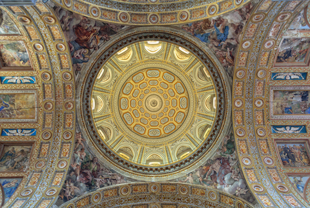 Interior of the immense dome of the Church of Gesù Nuovo - Naples, Campania, Italy, 29 October 2011