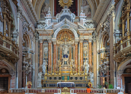 sumptuous: The apse and the main altar of the Church of Gesù Nuovo with the majestic statue of the Virgin resting on a large globe in the middle - Naples, Campania, Italy, 29 October 2011 Editorial