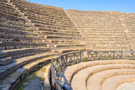 Stone steps in the Small Theater (Teatro Piccolo) of Pompeii -Campania, Italy
