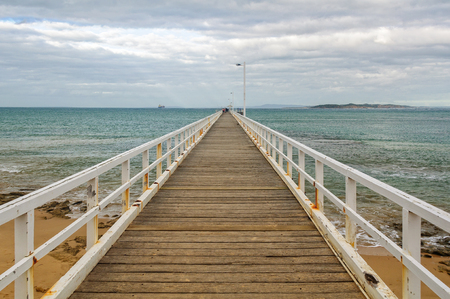 lonsdale: Point Lonsdale Pier on an overcast  autumn afternoon - Victoria, Australia