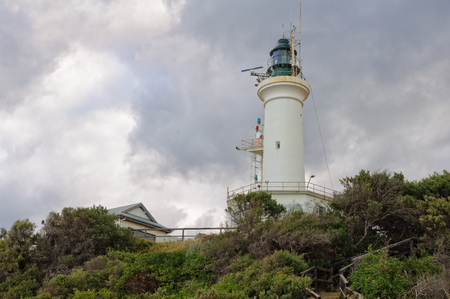 lonsdale: Point Lonsdale Lighthouse on a cloudy autumn afternoon - Victoria, Australia
