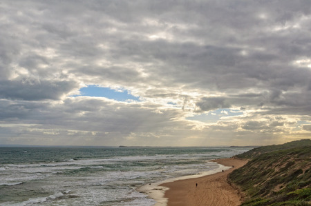 lonsdale: Small patch of blue sky on an overcast autumn afternoon - Point Lonsdale, Victoria, Australia Stock Photo