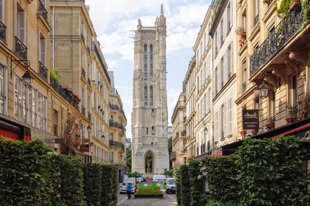 サン ・ ジャック塔のエグリーズ サン-ジャック-ド-ラ-Boucherie, パリ, フランス - サンティアゴ ・ デ ・ コンポステーラへの巡礼のミーティング ポイ