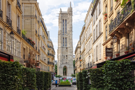 Saint-Jacques Tower is the only remnant of the Eglise Saint-Jacques-de-la-Boucherie, which used to be a  meeting point on the pilgrimage to Santiago de Compostela - Paris, France Editorial