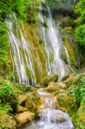 The 35m tall upper section of the Mele Cascades Waterfalls - Port Vila, Efate Island, Vanuatu Stock Photo