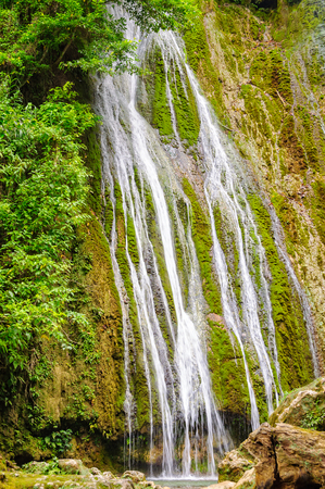 Part of the 35m tall upper section of the Mele Cascades Waterfalls - Port Vila, Efate Island, Vanuatu