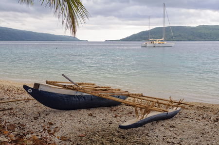 A typical outrigger canoe on Efate Island, Vanuatu