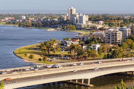 Narrows Bridge,  Swan River and South Perth Esplanade photographed from Kings Park - Perth, WA, Australia
