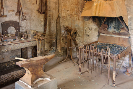Inside the blacksmiths shop or Smithy at Old Wilpena Station in the Flinders Ranges - Wilpena Pound, SA, Australia