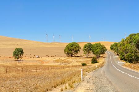 Wind farm along the road from Orroroo to Clare - SA, Australia