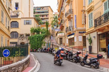 Rue Paradis on the steep, densely populated hillside of Monaco-Ville - Monaco, 8 July 2013 Редакционное