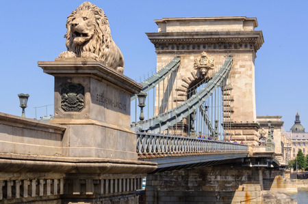 One of the four guardian lions of the Szechenyi Chain Bridge - Budapest, Hungary, 24 July 2013 Editorial