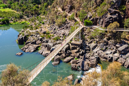 Alexandra Suspension bridge at Cataract Gorges First Basin - Launceston, Tasmania, Australia Reklamní fotografie