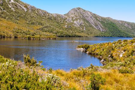 Dove Lake and Hansons Peak - Cradle Mountain, Tasmania, Australia Banco de Imagens