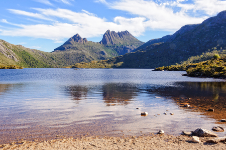 A peaceful spot on the shore of Dove Lake beneath the rugged Cradle Mountain - Tasmania, Australia