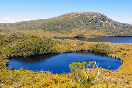 Lake Lilla and Dove Lake photographed from the Wombat Peak in the Cradle Mountain-Lake St Clair National Park - Tasmania, Australia Foto de archivo