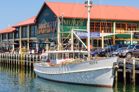 Mures Upper Deck seafood restaurant in the Victoria Dock of Hobart Harbour - Tasmania, Australia, 6 February 2014