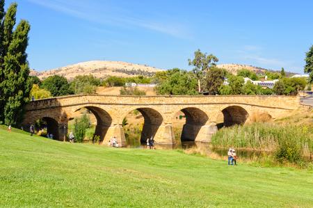 Richmond Bridge, built by convicts in  the 1820s, is the oldest surviving stone span bridge in Australia - Richmond, Tasmania, Australia, 8 February 2014 Editorial