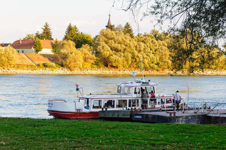 Passengers board the ferry to cross the Danube River from Leányfalu to Pócsmegyer, Hungary, 14 September 2011