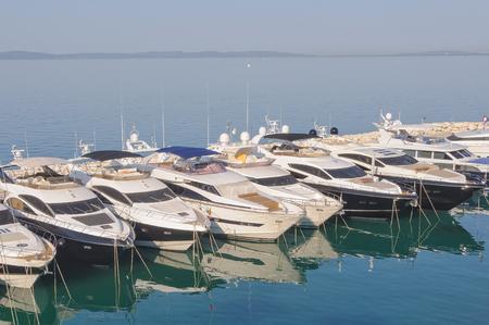 Motor yachts in Marina Lav - Split, Croatia Reklamní fotografie - 92230732