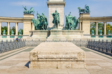 For the memory of our heroes in front of the statue of Arpad and his fellow Magyar chieftains on the Heroes Square - Budapest, Hungary Sajtókép