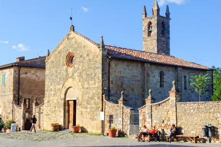 The parish church of Santa Maria Assunta on the pilgrimage to Rome - Monteriggioni, Italy, 20 September 2011 Editorial