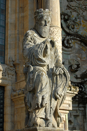 Statue in front of main entrance of the Santiago de Compostela Cathedral - Galicia, Spain, 24 October 2007 Editorial