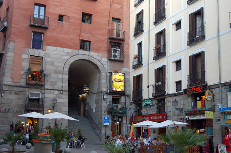 Cuchilleros Arch (Arco), one of the ten entrances to the (Main Square (Plaza Mayor) - Madrid, Spain, 28 September 2007