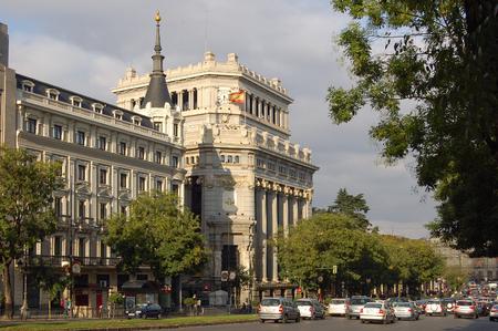 Gran Via near the Cervantes Institute (Instituto Cervantes) - Madrid, Spain