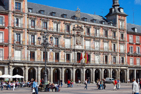 The Main Square (Plaza Mayor), a grand arcaded square in the center of the city, is very popular with tourists and locals alike - Madrid, Spain, 28 September 2007