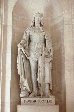 Statue of Ferdinand the Catholic (Fernando el Catolico) at the Royal Palace (Palacio Real) - Madrid, Spain, 28 September 2007