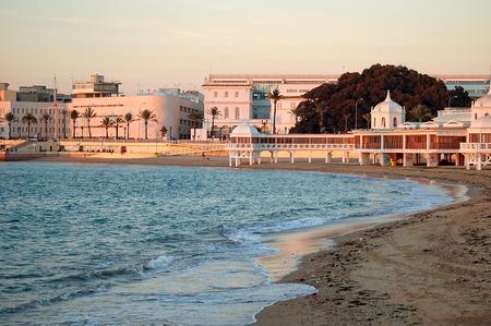 La Caleta Beach at sunset - Cadiz, Andalusia, Spain