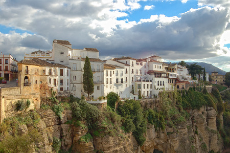 Whitewashed houses of the Old Town at the edge of the El Tajo Gorge - Ronda, Andalusia, Spain