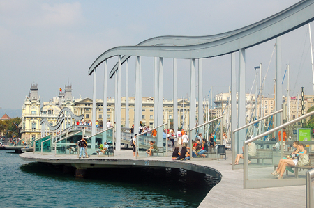 Port Vell (Rambla de Mar) is a waterfront harbor that was built prior to the 1992 Olympic Games as part of an urban renewal program - Barcelona, Catalonia, Spain, 3 September 2007 Editorial