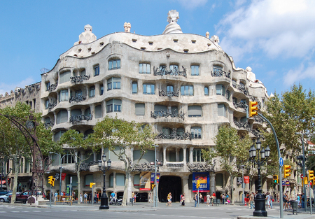 The undulating stone facade of Casa Mila, the last building of Antoni Gaudí prior to Sagrada Familia - Barcelona, Catalonia, Spain, 1 September 2007 Editorial