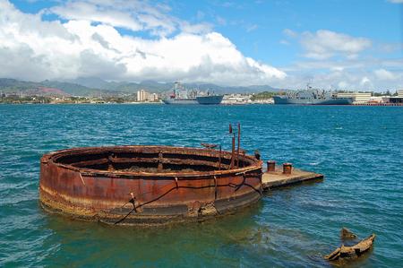 The sunken ship USS Arizona below the Memorial - Pearl Harbor, Oahu, USA
