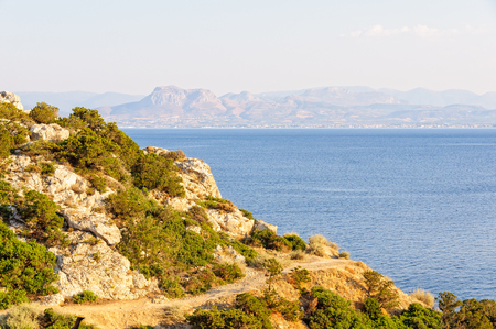 The Gulf of Corinth is a deep inlet of the Ionian Sea between the Peloponnese and western mainland Greece Stock Photo