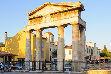 Gate of Athena Archegetis, composed of four Doric columns, is an entrance on the west side of the Roman Agora - Athens, Greece Archivio Fotografico - 101567320