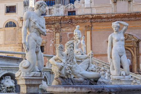 Details of the Praetorian Fountain (Fontana Pretoria) - Palermo, Sicily, Italy, 20 October 2011
