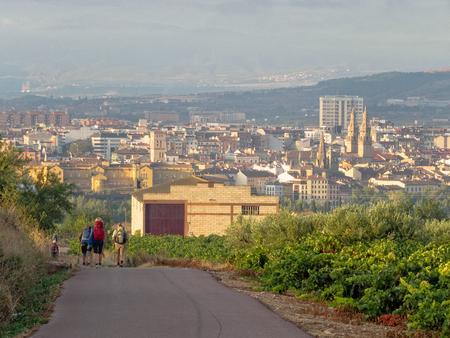 Camino pilgrims descend to Logrono, La Rioja, Spain