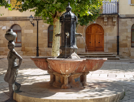 Fountain with Water Woman on the Main Square (Plaza Mayor) - Navarrete, La Rioja, Spain