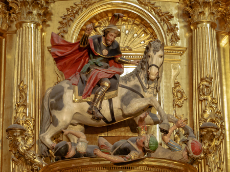 St James as Matamoros, slayer of the Moors, in the Cathedral of Saint Mary - Burgos, Castile and Leon, Spain, 13 September 2014 Editoriali