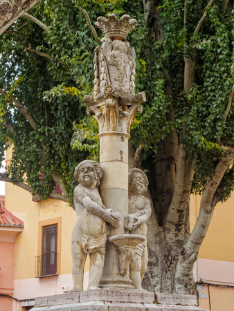 The two cherubs of the neoclassical fountain on the Santa Maria del Camino square (Plaza), also known as Grain square, represent the two rivers of the city - Leon, Castile and Leon, Spain