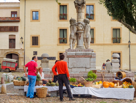 Stall on the weekend farmers market under the statue of two cherubs on the Santa Maria del Camino square (Plaza), also known as Grain square - Leon, Castile and Leon, Spain, 20 September 2014