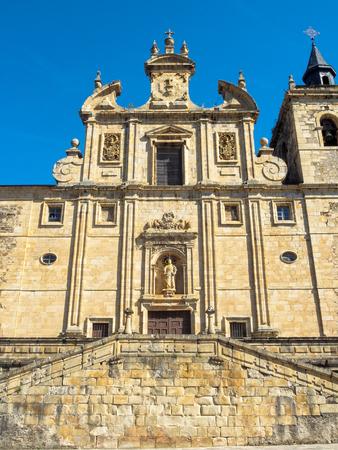 The facade of St. Nicholas Church (Iglesia De San Nicolas El Real) - Villafranca del Bierzo, Castile and Leon, Spain Imagens