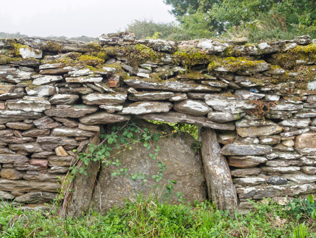 Moss-covered old dry-stone wall - Mercadoiro, Galicia, Spain