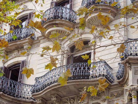 Beautifully shaped balconies on the modernist facade of a residential building - Barcelona, Catalonia, Spain Stok Fotoğraf